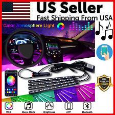 4X 48LED RGB Car Interior Atmosphere Light Strip Bar Bluetooth APP Music Control