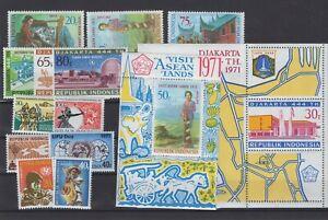 INDONESIA, INDONEZJA STAMPS, 1971, SET OF 12 + 2 BL. STAMPS **