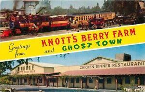 Amusement Railroad Chicken Restaurant Knotts Berry Farm California postcard 7564