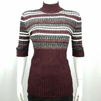 Style & Co Women's Sweater Size Medium Mock Turtleneck Plum Black White
