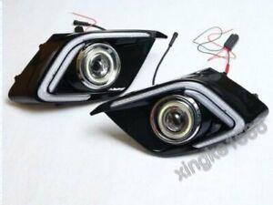 2PCS For Mazda 3 2013 - 2016+ Angel Eyes LED Daytime Running Fog Lights Lamp DRL