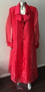 Organza Mesh Sheer 2 Piece Satin Red Long Formal Party Dress Suit Plus Size 3X