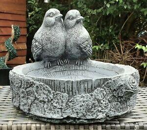 HAND PAINTED CONCRETE GARDEN ORNAMENT,FREE STANDING BIRD BATH (2 BIRDS)....
