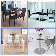 Modern Black or Clear Glass Dining Table Set with 4/6 Chairs Kitchen Furniture