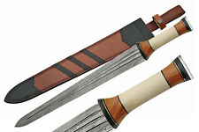 "NEW! 24"" Damascus Steel Viking Sword Bone, Horn, & Wood Handle w/ Sheath"