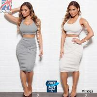 Bodycon Sexy Crop Vest Top Midi Pencil Skirt High Waist Two 2 Piece Summer WD025