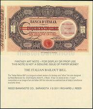 ITALY - ITALIAN BAILOUT FANTASY ART NOTE ONE ZILLION LIRE = ONE EURO 1-SIDED!
