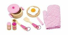 Children Wooden Toy Pink Cooking Set Pans Utensils Pretend Play Kitchen Food