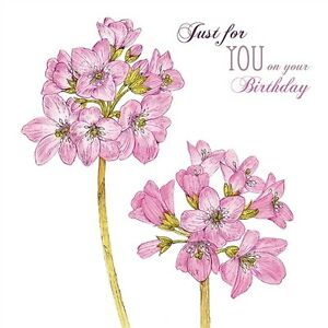 Beautiful pink flowers with foil pink detail just for you birthday card