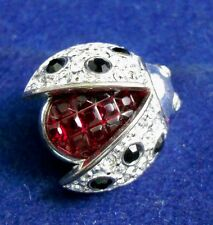 Vintage SIGNED CAROLEE RHINESTONE LADY BUG INSECT PIN BROOCH