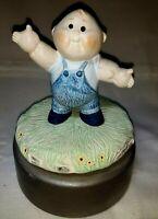 "Vintage Ceramic Revolving Sankyo Music Box Cabbage Patch Boy ""Old McDonald"" VGC"