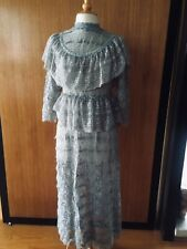 Lim's Vintage Victorian Style High Neck Intricate Maxi Dress One Size Olive Gray