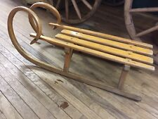 Early Bentwood German Child's Sled With Ram's Horn Curl   ~ PR399