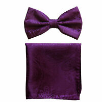 New formal men's pre tied Bow tie & hankie set paisley pattern purple wedding