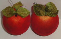 1960s VINTAGE FELT RED APPLE CHRISTMAS ORNAMENTS LOT 2 Styrofoam Plastic fruit