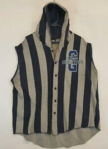 Vtg Georgetown Hoyas Sleeveless Button Up Shirt Top Jacket USA Made Marquee
