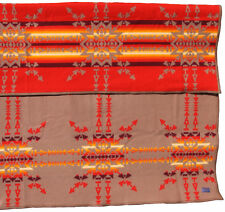 """Vintage Pendleton Beaver State Wool Reversible Blanket 80"""" x 64"""" Khaki Tan & Red"""