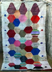Vintage Moroccan flatweave boucherouite kilim rug 230 x 145 cm