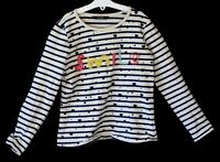 Girls George Blue White Breton Stripe Beaded Smile Sweater Jumper Age 8-9 Years