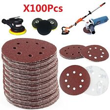 "100pcs 125mm - 5"" Sanding Discs 40 60 80 120 240 Grit Orbital Sander Pads Velc"