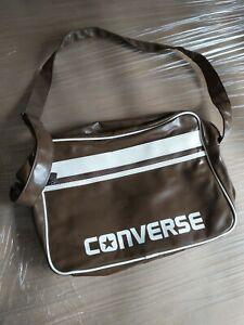 CONVERSE BROWN PLASTIC MESSENGER SHOULDER SPORTS  / HOLDALL BAG. USED.