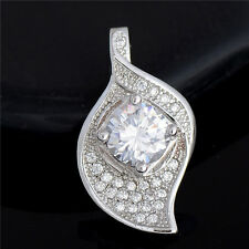 18K White Gold Plated Cubic Zirconia Leaf Pendant Fit Necklace Chain