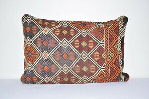"16"" X 24"" Turkish Kilim Pillow, Handwoven Kilim Pillow, Orange Kilim Cushion"