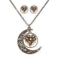 Women Moon Jewelry Set Heart Love Necklace Earrings Fashion Time Cabochon New