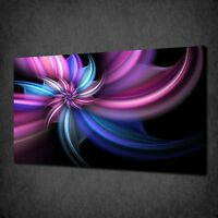 PURPLE FRACTAL FLOWER ABSTRACT CANVAS WALL ART PRINT PICTURE READY TO HANG