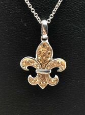Sterling Silver 925 Enamel Cognac Citrine Cluster Curved Saint Cross Necklace