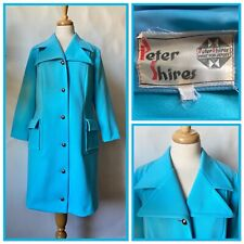 Vintage 1960s 70s Peter Shires Turquoise Blue Polyester Coat Mod Size 14 16