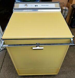"Vintage 24"" KitchenAid Hobart Harvest Gold Portable Dishwasher KDD-67B Beautiful"