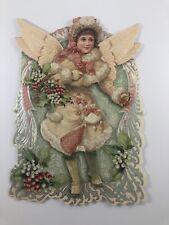 Vintage Christmas Card  Old Fashioned Angel Embellished Sparkle3-D with Envelope