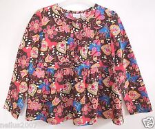 New Girls Butterfly Heart 60's Style Brown Flower Long Sleeve Top Blouse Age 8