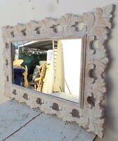 Specchio barocco in legno intarsiato cm 100x70  bianco decapato modello classic