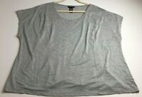 Catherines Women's Short Sleeve Blouse Top 2X Plus Gray Silver Embellishment
