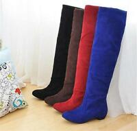 England Style Women Ladies Suede Pull On Sexy Over The Knee High Flat Long Boots
