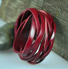 S383 Cool Classic Double Wrap Braid Leather Bracelet Wristband Cuff Mens RED