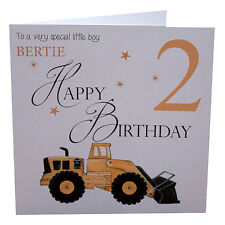 Birthday Card Little Boy Digger Personalised Handmade, 1st 2nd 3rd etc Son,