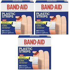 3 Pack Band-Aid Adhesive Bandages Plastic All One Size, 60 sterile Bandages Each