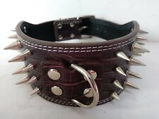 "4 Row Spiked Studded Dog Collar PU Chocolate Brown Alligator Size Small 17""-20"""