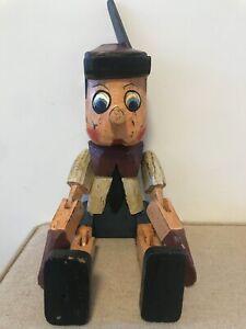 Large handmade vintage wooden Pinocchio sitting puppet shelf child's room gift