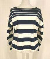 J Crew Top S Pullover Nautical Stripe Navy Blue Creamy White Cotton Shirt Small
