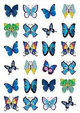 24 x BLUE MIXED BUTTERFLIES EDIBLE CUPCAKE TOPPERS RICE WAFER PAPER