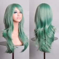 """28"""" Long Mint Green Wavy Curly Hair Wig Heat Resistant Cosplay Non Lace Wigs NEW"""