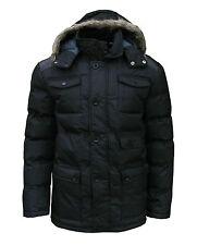 Soul Star Men's Mock Padded Casual Winter Coat Parka Black Medium