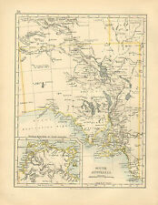 1892 VICTORIAN MAP ~ SOUTH AUSTRALIA ~ ADELAIDE KANGAROO ISLAND EYRES PENINSULA