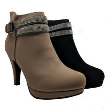 WOMENS LADIES DIAMANTE STILETTO HIGH HEEL ANKLE BOOTS ZIP UP SHOES SIZE