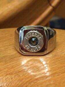 Federal 45 Caliber Nickel Bullet Casing Steel Size 12 Ring With Silver Crystal