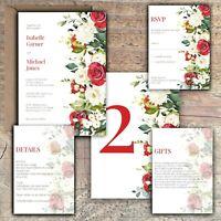 Personalised Luxury Rustic Wedding Invitations IVORY & RED ROSE PK 10